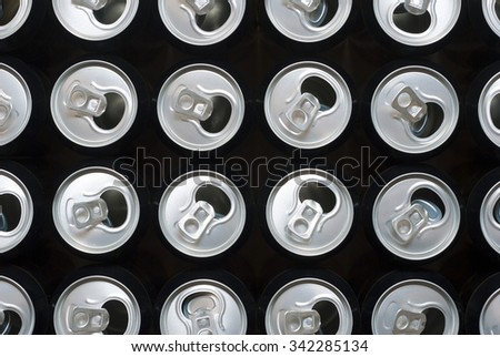 opened black canned beers - stock photo