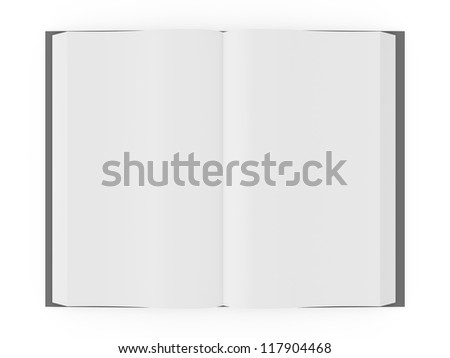 Opened blank book or notebook, template, top view, isolated on white background. - stock photo