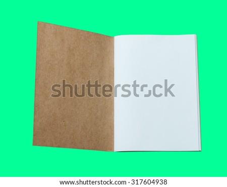 Opened blank catalog,brochure, magazines,book mock up isolated on green background - stock photo