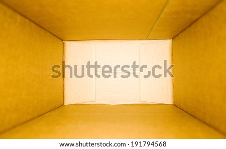Opened blank paper box from the top - stock photo