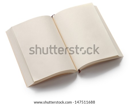 opened blank paperback with bookmark isolated on white background - stock photo