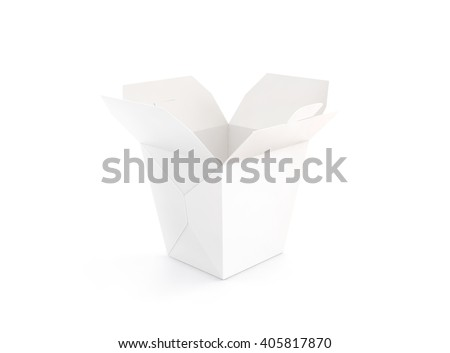 Opened blank wok box mockup stand isolated, 3d rendering. Empty clear noodle carton box mock up. Asian take away food paper bag template. Chinese meal container  packaging. Rice, udon, pasta, fastfood - stock photo