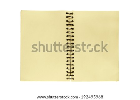 Opened blank yellow notepad with a spring on white background