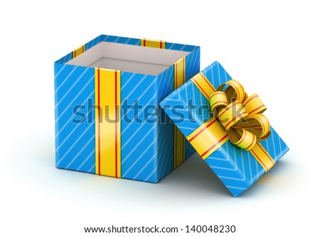 Opened blue gift box with gold ribbons on white background - stock photo