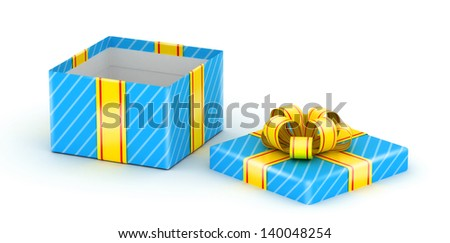 Opened blue gift box with gold ribbons on white background