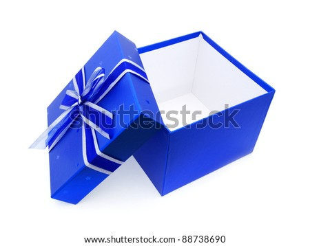 Opened Blue Gift Box with lid and ribbon over white