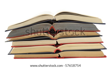 Opened  blue  red old retro  books isolated on white.
