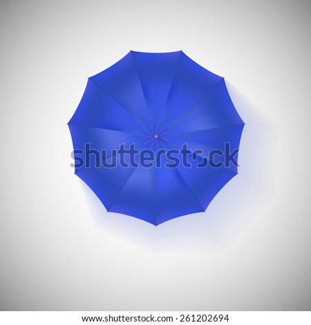 Opened blue umbrella, top view, closeup.  illustration. - stock photo