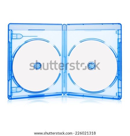 Opened BluRay Case with Two Disk Isolated on white with clipping path - stock photo