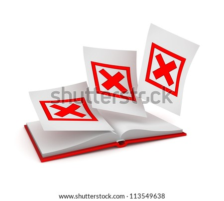 Opened book and red cross marks.Isolated on white background.3d rendered. - stock photo