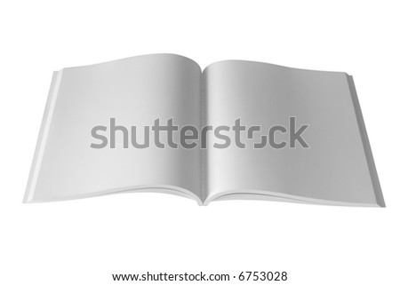 Opened book and white pages. (with clipping path) - stock photo