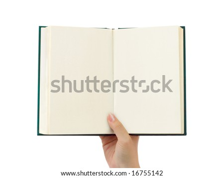 Opened book in hand isolated on white background - stock photo