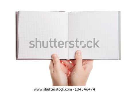 Opened book in hands isolated on white background - stock photo