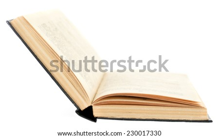 Opened book isolated on white - stock photo