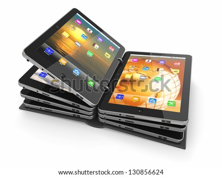 Opened book or folder from tablet pc. 3d - stock photo