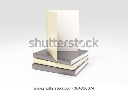 Opened book with blank white page on pile of books, mock up, 3D render - stock photo