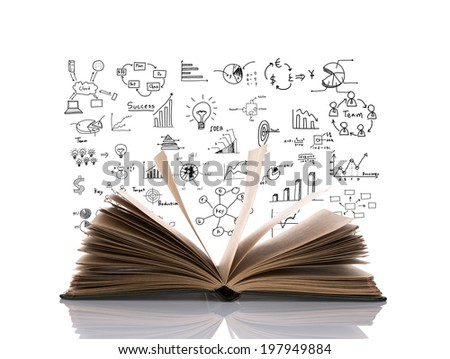 Opened book with business concept and graph isolated over white background - stock photo