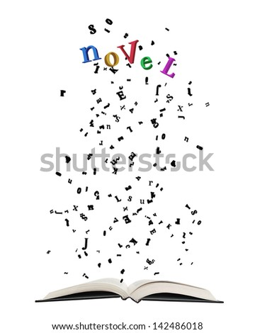 """Opened book with letters bursting out of it/Opened book with letters bursting out of it, some shaping colorful word """"Novel"""" isolated on white. - stock photo"""