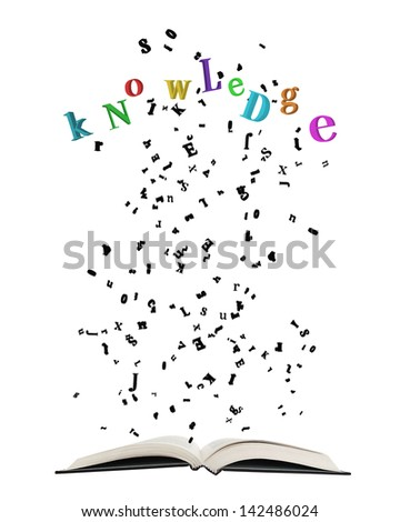 """Opened book with letters bursting out of it/Opened book with letters bursting out of it, some shaping colorful word """"Knowledge"""" isolated on white. - stock photo"""
