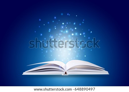 opened book with magic light