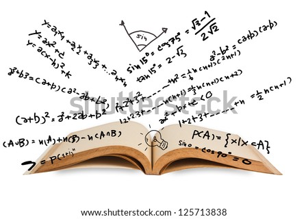 Opened book with mathematics equations - stock photo