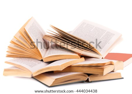Opened books isolated on white background.