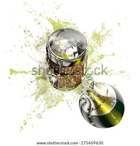Opened bottle of champagne foaming with a close up view on the cork. This illustration represents the celebration. - stock photo
