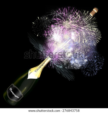 Opened bottle of champagne with giant fireworks. This illustration symbolizes the celebration of an exceptional event. - stock photo