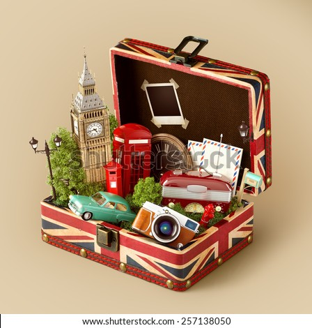 Opened box with british flag and famous monuments of London inside. Unusual traveling concept. - stock photo