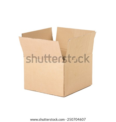 Opened brown carton shipping box. Isolated on white background.