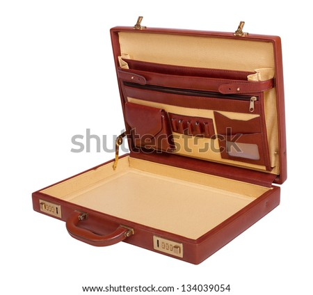 Opened brown leather briefcase isolated on white background - stock photo