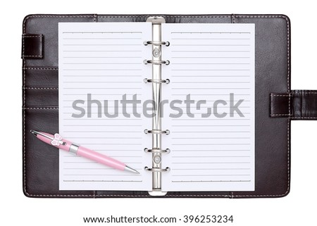 opened brown leather notebook and ballpoint pen isolated on white background - stock photo