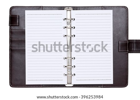 opened brown leather notebook isolated on a white background