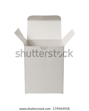Opened cardboard box isolated on white background - stock photo