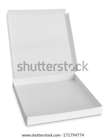 opened cardboard box isolated over white background - stock photo