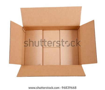 Opened cardboard box. Isolated over white background with clipping path - stock photo