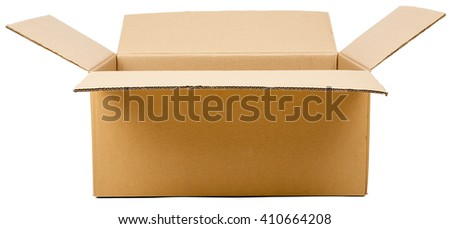 Opened cardboard box parcel, isolated on white