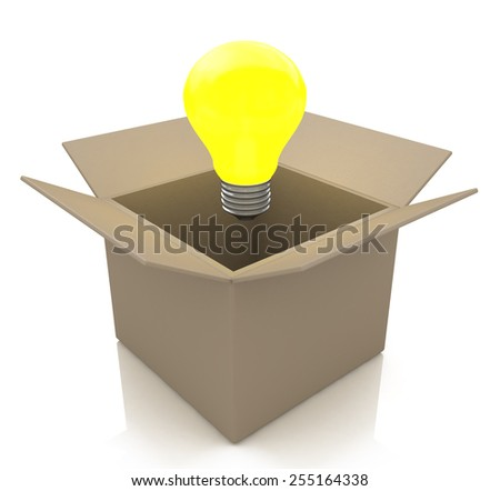 Opened cardboard box with lit light bulb, thinking outside the box concept  - stock photo