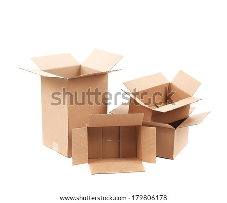 Opened cardboard boxes. Isolated on a white background. - stock photo