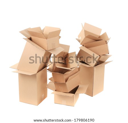 Opened cardboard boxes. Isolated on a white background.