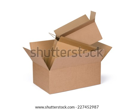 Opened cardboard boxes Isolated on white background.
