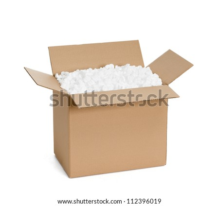 Opened cardboard container with filling material, isolated, white background
