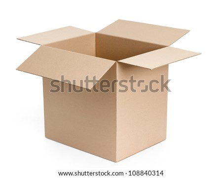Opened cardboard package, isolated, white background - stock photo