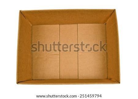 Opened Cardboard Shipping Box Shot Above Isolated On White - stock photo