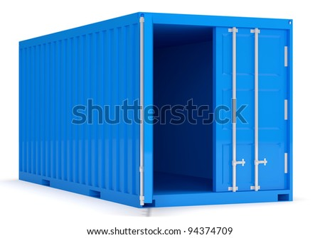 Opened Cargo Container isolated on white background