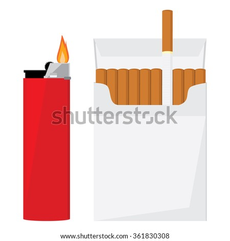 Opened cigarette pack with cigarettes and red pocket lighter with fire raster illustration. Cigarette box. Cigarette packet. - stock photo