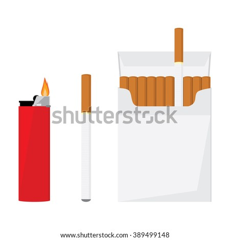 Opened cigarette pack with cigarettes, cigarette and red pocket lighter with fire raster illustration. Cigarette box. Cigarette packet. - stock photo