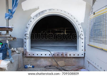 opened clean out door manhole on the white fuel tank shell plate storage tank confined space & Opened Clean Out Door Manhole On Stock Photo (Royalty Free ...