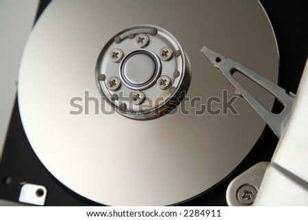 Opened Computer Hard Drive with Exposed Discs