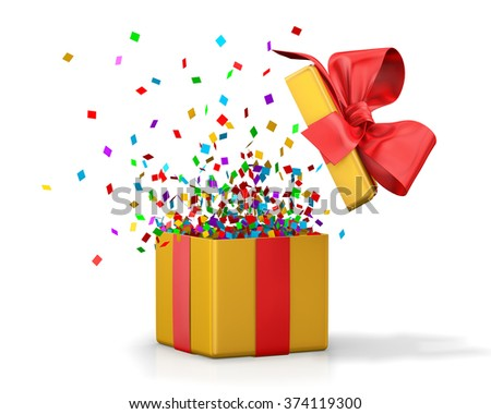 Opened 3d realistic gift box with red bow and confetti. - stock photo